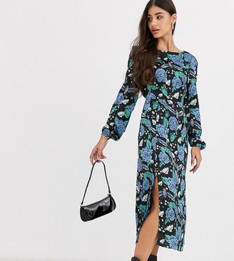 Glamorous Tall midi dress in bold floral-Black