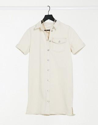 Vila denim shirt dress in off white