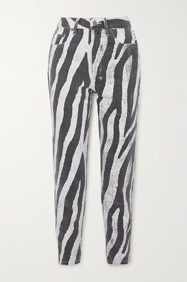 Ksubi Pointer Zebra-print High-rise Straight-leg Jeans - Black