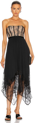 Jonathan Simkhai Scarlett Strapless Pleated Midi Dress in Black | FWRD