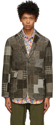 Beams Grey Corduroy Patchwork Print Blazer