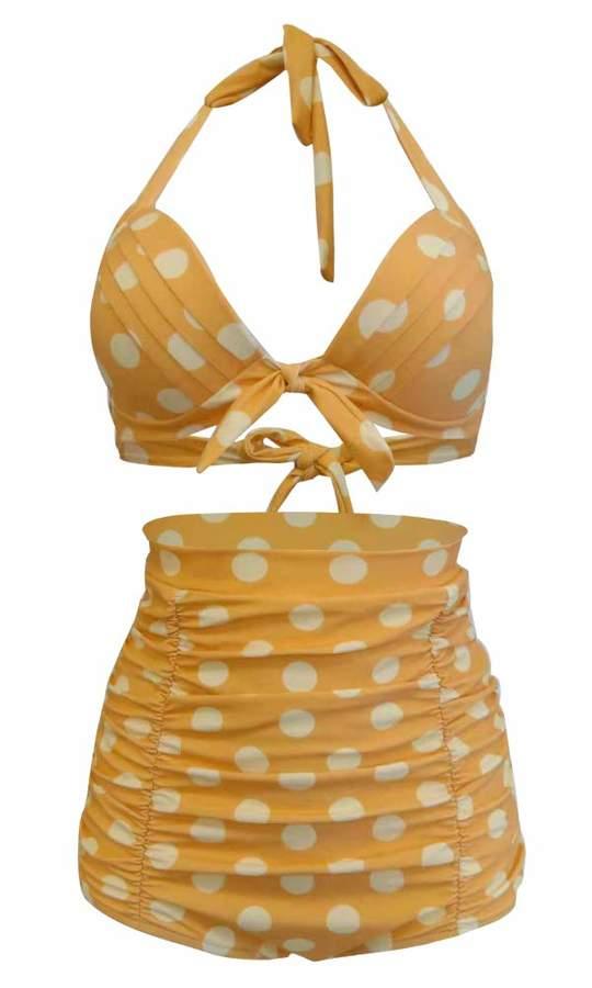 af7a9f8889f Sets Bikinis Qiaoer Women Plus Size Vintage Polka Dot Halter High Waisted  Bikini Swimsuit Set