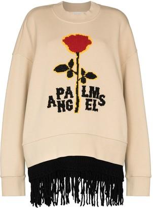 Palm Angels Jacquard Rose Fringed Layered Sweatshirt