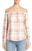 Cupio Plaid Off-The-Shoulder Top