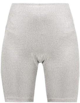 Paco Rabanne Logo-jacquard Metallic-jersey Cycling Shorts - Womens - Silver