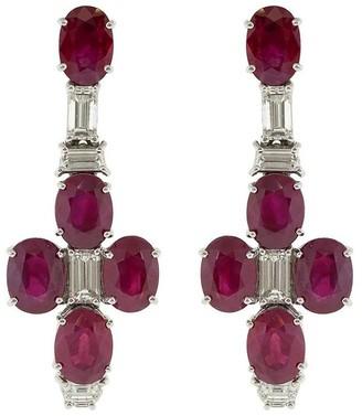 Bayco platinum Burmese ruby and diamond drop earrings