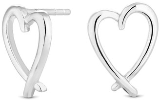 Simply Silver Sterling Silver 925 Open Crossover Heart Stud Earring