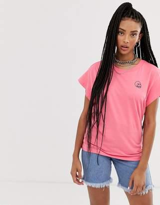 Cheap Monday Screen t-shirt with tiny skull logo-Pink