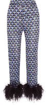 Prada Feather-trimmed Printed Crepe De Chine Straight-leg Pants - Blue