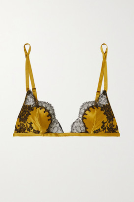 Carine Gilson Chantilly Lace-trimmed Silk-satin Soft Cup Triangle Bra - Yellow