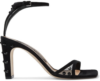 Sergio Rossi Sr1 85 Crystal-embellished Mesh And Suede Sandals