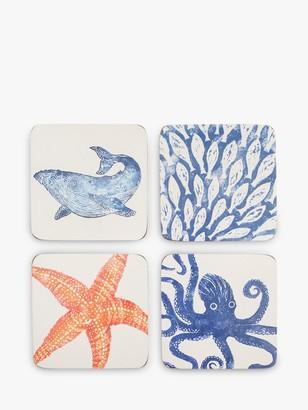 BlissHome Creatures Cork-Backed Sealife Coasters, Set of 4, Assorted, Blue/Orange