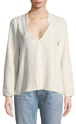 BA&SH Corian Split-Neck Long-Sleeve Blouse