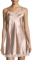 Neiman Marcus Lace-Trimmed Silk Chemise