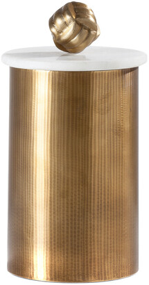 Torre & Tagus Tomar Antique Brass Ribbed Canister Tall