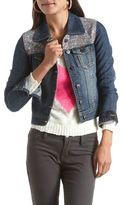 Hot Kiss Floral Inset Jean Jacket