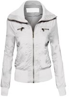 Hot From Hollywood Women's Zip Up Lapel Collar Long Sleeve Cotton Rib Knit Trim Casual Moto Jacket