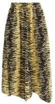 Thumbnail for your product : Ganni Elasticated-waist Zebra-print Satin Midi Skirt - Yellow