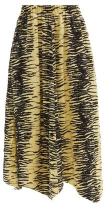 Ganni Elasticated-waist Zebra-print Satin Midi Skirt - Yellow