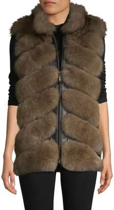 Belle Fare Chevron Dyed Fox Fur & Leather Vest