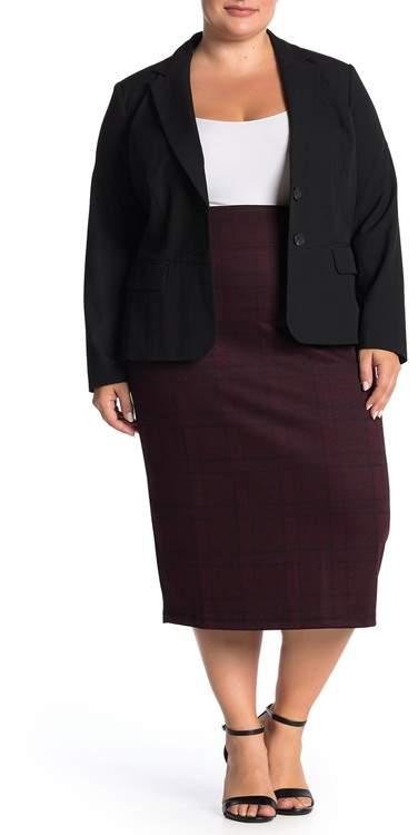 14th & Union Plaid Ponte Midi Skirt (Plus Size)