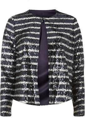 Dorothy Perkins Womens Navy Striped Sequin Jacket