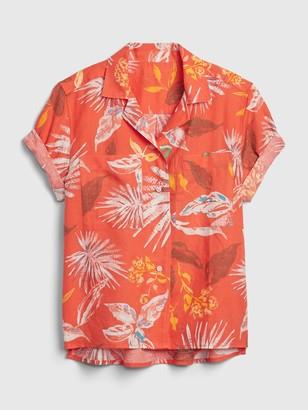 Gap Print Shirt in Linen-Cotton