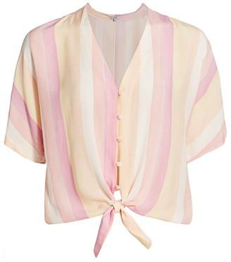 Rails Thea Stripe Tie-Front Blouse