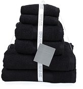 Jeff Banks Pure Cotton Supersoft Contemporary Towels, 6-Piece - Black