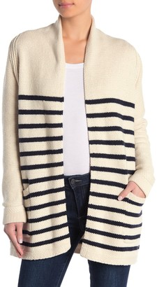 M Magaschoni Striped Shawl Collar Open Front Cardigan