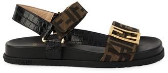Fendi Promenade FF Flat Mixed-Media Sandals