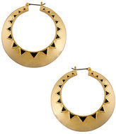 House Of Harlow Gold Plated Hoop Earring with Black Enamel