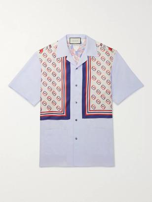 Gucci Camp-Collar Logo-Print Silk-Twill And Cotton Shirt
