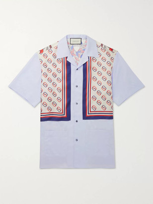 Gucci Camp-Collar Logo-Print Silk-Twill and Cotton Shirt - Men