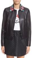 RED Valentino Flower Appliqué Collar Lambskin Leather Jacket