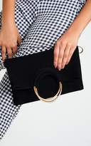 PrettyLittleThing Black Ring Detail Fold Over Clutch