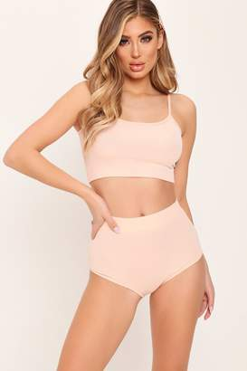 I SAW IT FIRST Nude Ribbed Bralet & High Waisted Briefs Set
