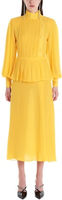Alessandra Rich Pleated Peplum Dress