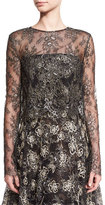 Oscar de la Renta Eve Floral-Embroidered Bolero, Black/Gold