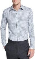 Tom Ford Tattersall Check Dress Shirt, White/Blue