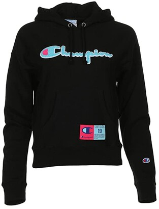 Champion Reverse Weave Pullover Hoodie (Black) Women's Clothing