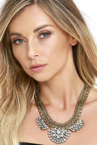 LuLu*s Good as Mine Gold Rhinestone Statement Necklace
