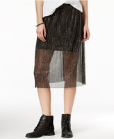 SHIFT Juniors' Sheer Metallic Pleated Skirt