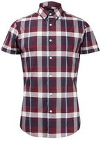Burton Mens Short Sleeve Stretch Red Check Shirt in Muscle Fit