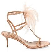 Aquazzura Ponza Feather-Trimmed Croc-Embossed Leather Sandals
