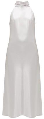 Galvan Sienna Halterneck Satin Midi Dress - Silver