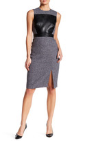 Catherine Malandrino Sleeveless Faux Leather Panel Dress