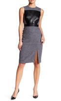 Catherine Malandrino Sleeveless Faux Leather Panel Dress