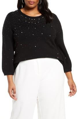 Halogen Jeweled Sweater (Plus Size)