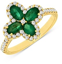 Bloomingdale's Emerald & Diamond Clover Ring in 14K Yellow Gold - 100% Exclusive